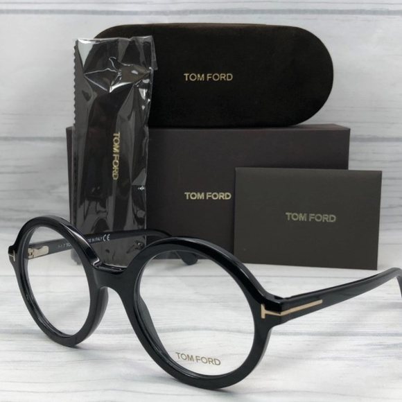 db0306283a1b Tom Ford TF5461 001 Shiny Black   Demo Lens 52mm